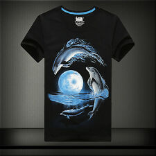 New men's 3D printing Dolphin  cotton short sleeve T-shirt free shipping