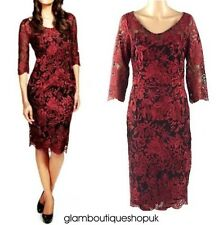 BRAND NEW LADIES STUNNING PARTY PER UNA CLARET RED LACE DRESS SIZE 6 8 10  WOW