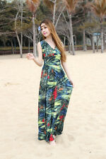 V-Neck Dark Green Summer/Spring Fashion Abstract Print Sexy Maxi Dress  #912DGR