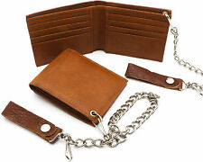 Bifold Tan Genuine Leather Compact Wallet w/ Chain - 8 Card Slots & Outer Pocket