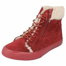 Girls Spot On Burgundy  Faux Fur Lined Casual Ankle Boots Style H4102