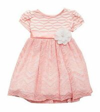 RARE EDITIONS® Girl's 2T, 3T, 4T Pink Zig Zag Stripe & Lace Dress *NWT $60