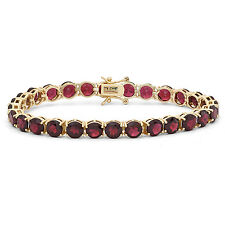 Gioelli Sterling Silver Yellow Gold Plated 6mm Round Cut Gemstones Bracelet