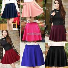Hot Womens Skater Flared Jersey Plain Mini Skirts Party Dress Pleated Skirt