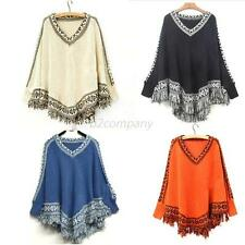 Womens Batwing Sleeve Tassels Hem Poncho V-neck Tops Knitting Sweater Coat Cloak