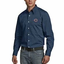 Chicago Bears Antigua Graduate Woven Long Sleeve Shirt - Navy - NFL