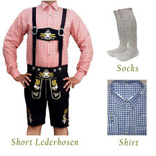 Authentic German Bavarian Oktoberfest Short Lederhosen Shirt Socks Package GP379