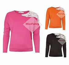 Womens Baggy Jumper Batwing Sleeve Sweater Lace Top Bright Tops Blouse