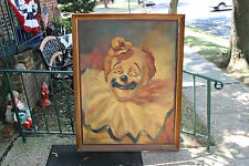 Vintage Scary Clown Painting On Canvas-Signed Petrella 1968-Very Large-Circus