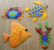 """XL SET OF 4 HAND PAINTED METAL ART FISH 12"""" W, TURTLE 12"""" W, CRAB 10"""" & LOBSTER"""