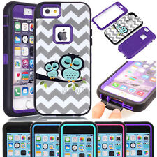 Glossy Owls Pattern Soft Hard Shockproof Combo Case For iPhone & Samsung Galaxy