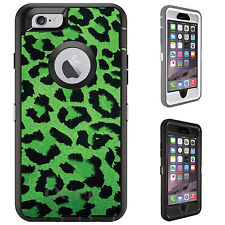 CUSTOM OtterBox Defender for iPhone 6 6S PLUS Green Black Leopard Skin Spots