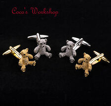STAINLESS STEEL GOLD SILVER TONE TEDDY BEAR MENS CUFFLINKS WITH GIFT BAG FUNKY