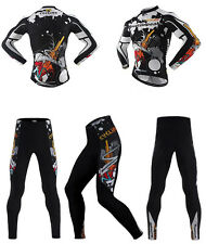 Mens Bicycle Jersey cycling long sleeve Cycling wear+Coolmax Pants Sports Suits