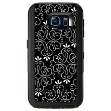 CUSTOM OtterBox Defender Case for Galaxy S5 S6 S7 Black White Floral
