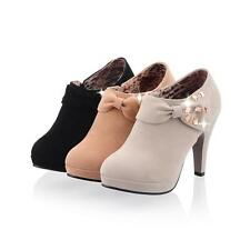 Women's Fashion Sweet Cute Bowknot Mid-calf Ankle Ankle Boots High Heel Shoes Sz