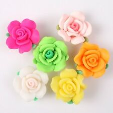 20mm Rose Flowers With Leaves Charms FIMO Polymer Clay Beads Findings