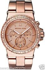 AUTH MICHAEL KORS MK5412 DYLAN ROSE GOLD GLITZ CHRONOGRAPH WATCH NEW