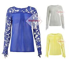 Womens Crochet Lace Top Long Sleeve Blouse Chiffon Tops