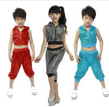 Sequins Girls Boys Modern Jazz Dance Costumes Kids Hip Hop Dancewear Top&Pants