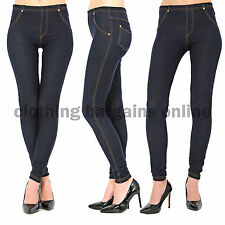 Womens Plain High Waisted Denim Look Jeans Jeggings Leggings Pants 8 -32 Size