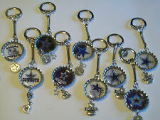 DALLAS COWBOY BOTTLE CAP KEY CHAIN WITH CHARMS VERY NICE HANDMADE