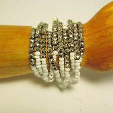 Handmade Seed Bead Faux Silver Charms Shell Chips Rikki Elastic/Stretch Bracelet