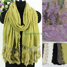 Fashion Embroidery Lace Floral Stitching Plaid Cotton With Lace Trim Long Scarf