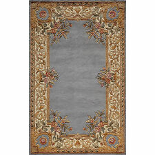Aubusson Floral Border Hand-tufted Wool Area Rug (5' x 8')