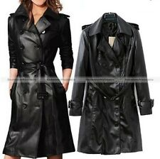 Women Black Double-Breasted Long Leather Jacket Trench Coat 10115607
