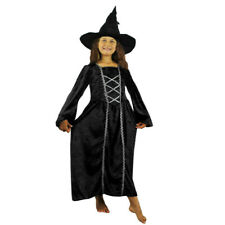 GIRLS DARK WITCH COSTUME AND HAT HALLOWEEN FANCY DRESS CHILDS KIDS GOTHIC OUTFIT