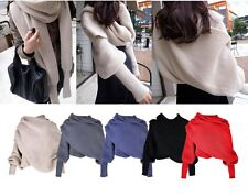 Men Women Winter Warm Batwing Knit Wool Scarf Long Sleeve Wrap Cardigan Shawl