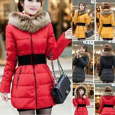 Winter Women Belt Down Jacket Cotton Parka Fur Collar Long Hooded Hoody Coat