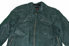 7eleven Women's Leather Jacket, Size 36, 40, dark green/grey, NEW