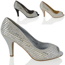 Womens Diamante Peep Toe Ladies Dressy Sparkly Party Prom Bridal Slip On Shoes