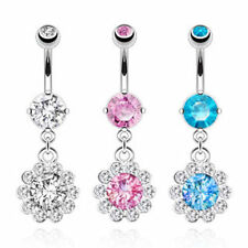 Round CZ Flower with Paved Gem Petals Navel Ring 316L Surgical Steel