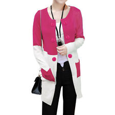Women Round Neck Buttons Decor Open Front Color Block Tunic Knit Cardigan