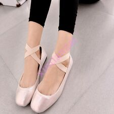 2015 Womens Ladies Mary Janes Cross Strap Slip On Ballet Flats Shoes Plus Size
