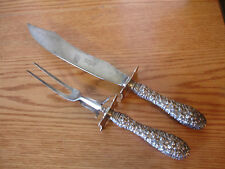 Old Vtg Sterling Silver Stieff Rose Design Roast Carving Set Fork Knife