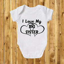 I Love My Mummy Daddy Big Brother Sister Grandma Grandad Baby Grow Bodysuit Vest