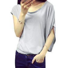 Women Boat Neck Asymmetric Batwing Sleeve Pullover Casual Tunic T-Shirt