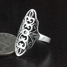 Womens 925 Sterling Silver Vintage Style Adorned Filigree Ring 28mm Length