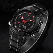 Men's Stainless Steel Military Army LED Digital Sport Analog Quartz Wrist Watch