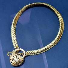 "9K Yellow Gold Filled Bracelet Solid Euro Chain & Heart Locket ""Stamp 9K"""