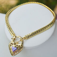 9K Yellow Gold Filled Bracelet Solid Euro Chain & Sparkly Stone Heart Locket