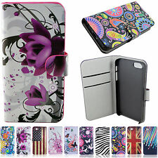 Synthetic Leather Skin Flip Stand Wallet Case Cover For Apple iPhone 5 5S 5G SE