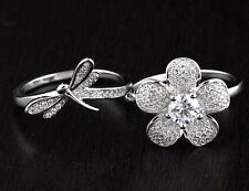Womens Solid 925 Sterling Silver CZ Flower Butterfly Two Finger Double Ring