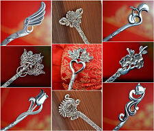 Vintage Chinese Style Women's Handwork Carved Miao Silver Hairpin Hair Stick