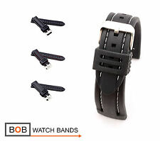 Rubber Chrono Style Watch Band/Strap, 20, 22, 24 mm, black, new!