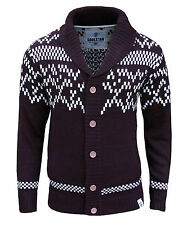 Soul Star Men's Quebec Aztec Nordic Fair Isle Knitted Cardigan Jumper burgundy